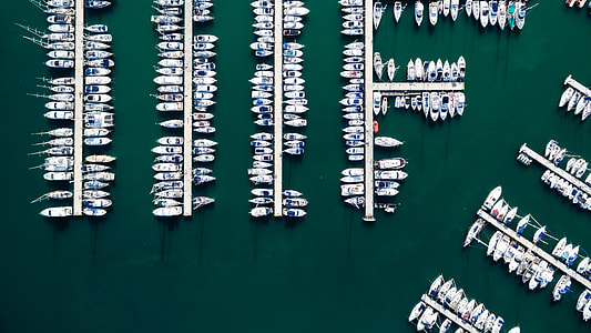 top view of assorted boats