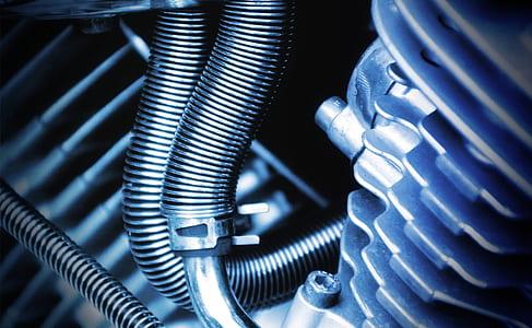 macro shot of motorcycle engine
