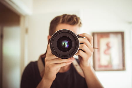 macro shot of black DSLR camera