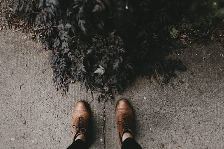 man wearing brown leather shoes