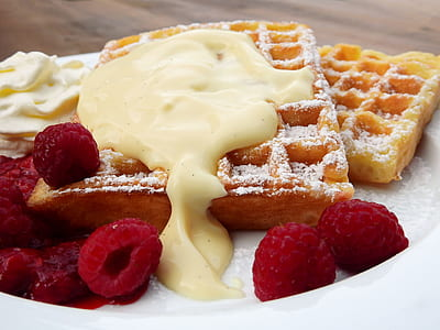 waffles with raspberry and sauce