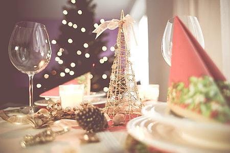 Soft Christmas Table Setting