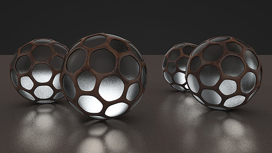 brown-and-grey 4-piece lighted balls