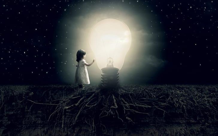 girl holding turned on light bulb during nighttime illustration