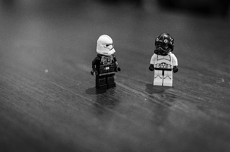 greyscale photo of two LEGO Star Wars troopers mini figurines