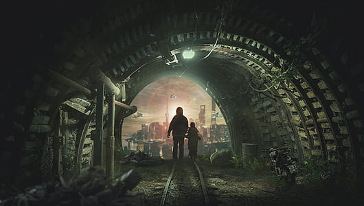 adult and child in tunnel near city digital wallpaper