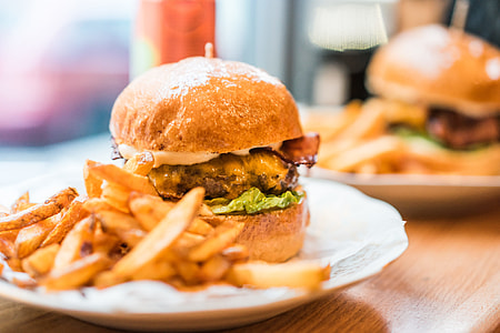 Yummy Fresh Burger with French Fries