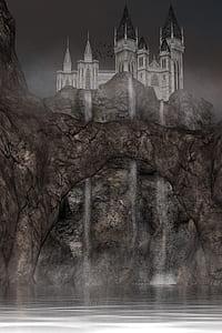 painting of castle beside waterfalls