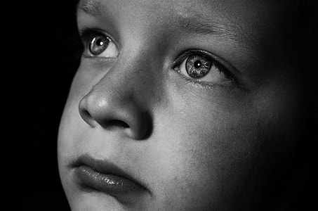 grayscale photo of child