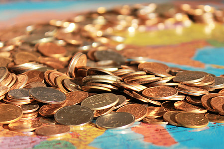 Cash coins on map