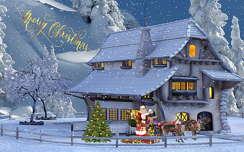 snow covered house with Santa Claus outdoor