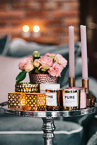 Side table with pink decorations