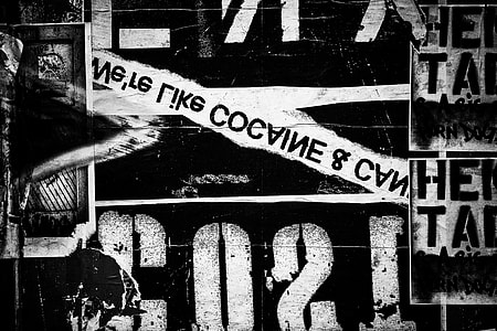 Black and white shot of street art and lettering in Brooklyn, New York City