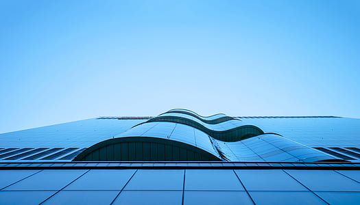 Worms Eye View of City Building Under Blue Sunny Sky