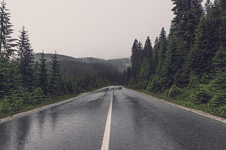 gray asphalt road under the cloudy sky