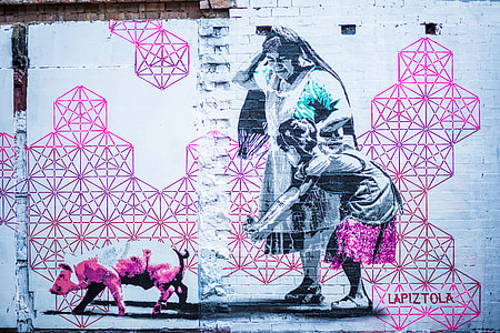 Pink Graffiti Wall Woman Child