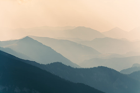 nature photography of silhouette of mountain range