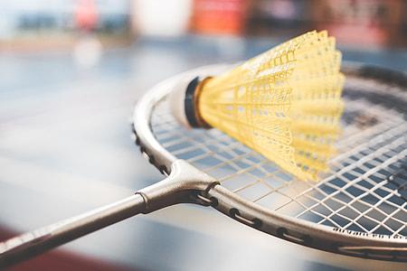 Badminton Racket and Yellow Shuttlecock Close Up