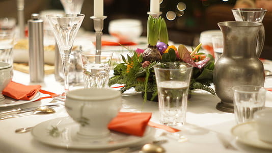 closeup of formal dinner table setting