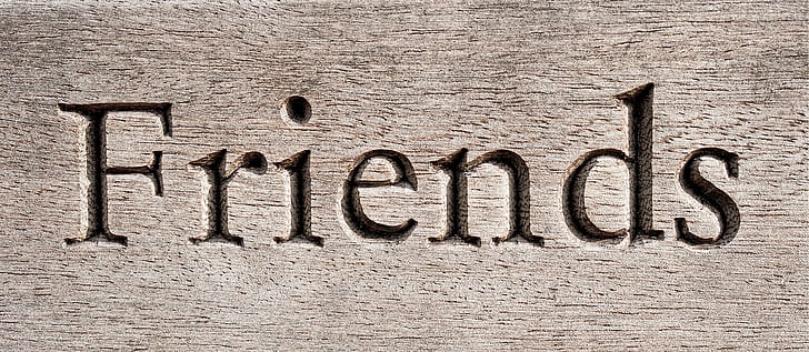 Friends carved sign