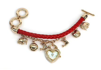 red leather toggle-up charm bracelet
