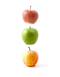 three assorted variety of apples