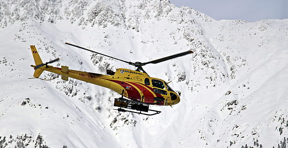 yellow and red helicopter