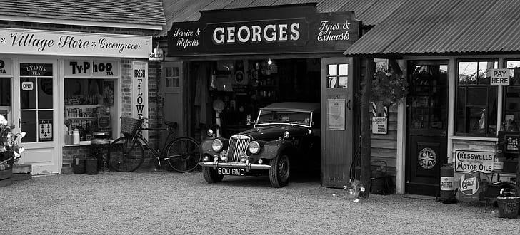 classic car park at garage