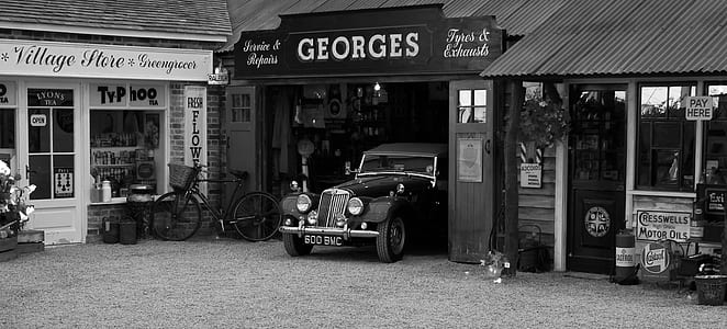 classic car park at garage