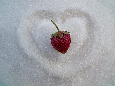 strawberry on white powder