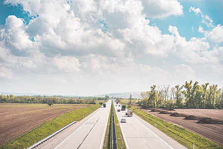 European Highway Surrounded by Fields