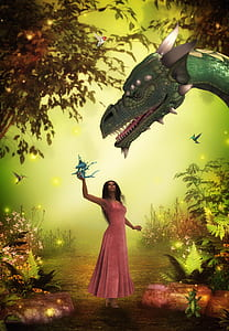 woman and dragon at the forest illustration