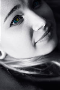 selective color photography of woman's eye