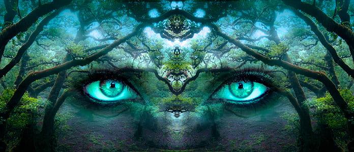 nature eye portrait painting
