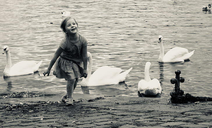 Black And White Photo Of A Little Girl