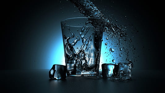 time lapse photography of highball glass with ice cube and water dew