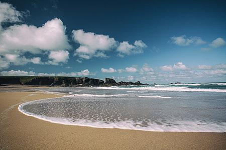 Beach and sea at Porthcothan Bay in Cornwall, England