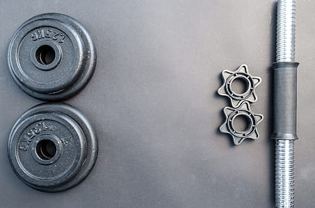 Gray And Black Barbell