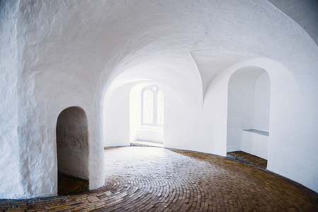 Interior shot of a white building in Copenhagen, Denmark
