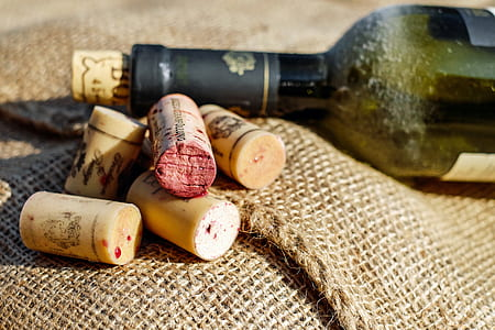 five brown wooden wine bottle lids