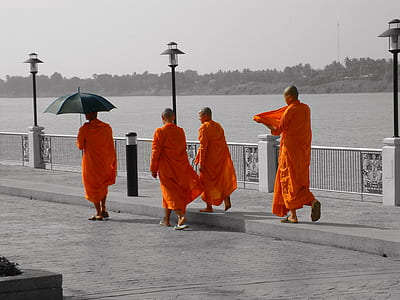 four monk walking near gray metal road railings near body of water