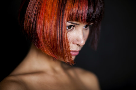red and black hair woman