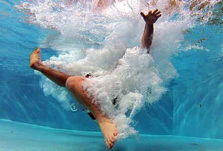 person under water
