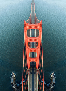 high angled photo of Golden Gate Bridge California
