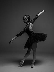 grayscale photo of ballet dancer