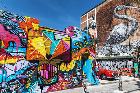 Vibrantly-coloured street art and graffiti near Brick Lane in London