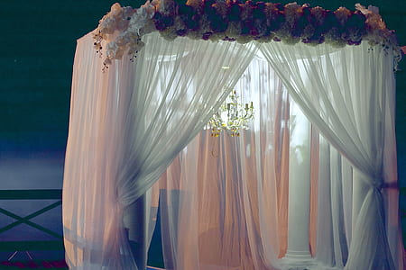 selective focus photographed of white sheer drape curtain