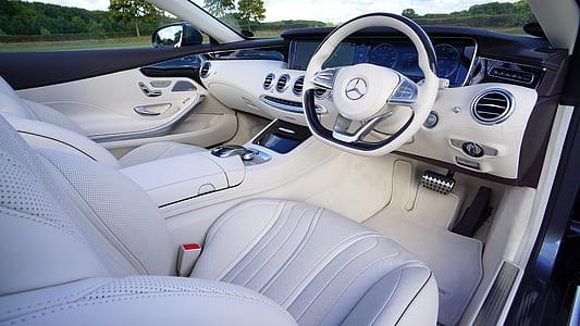 white Mercedes-Benz car interior