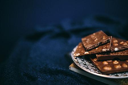 Close up a nut chocolate bar