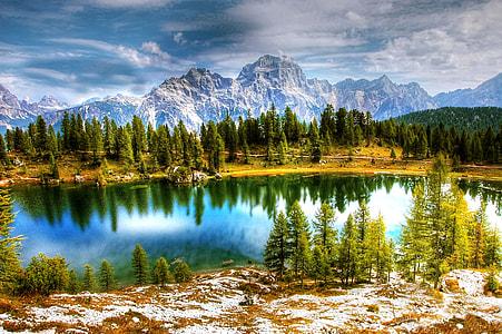 landscape photo calm body of water near mountain